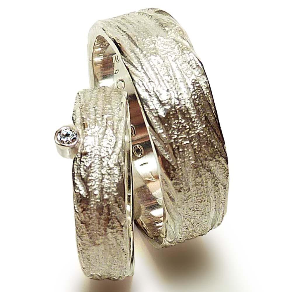 Strukturierte Hochzeitsringe In Silber Mit Zirkonia Gunstig